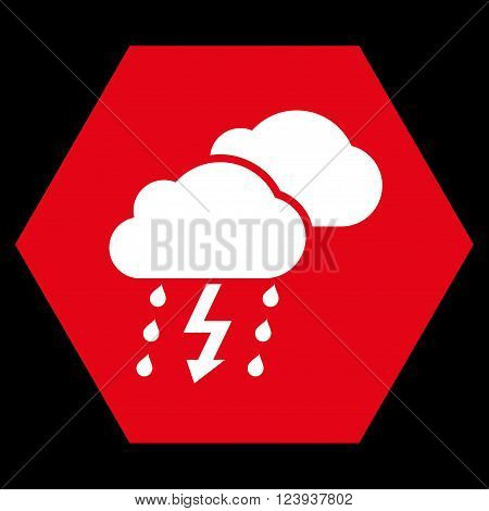 Thunderstorm vector icon. Image style is bicolor flat thunderstorm pictogram symbol drawn on a hexagon with red and white colors.