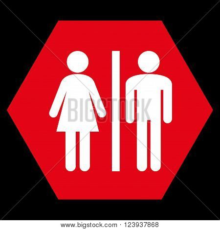 WC Persons vector pictogram. Image style is bicolor flat WC persons icon symbol drawn on a hexagon with red and white colors.