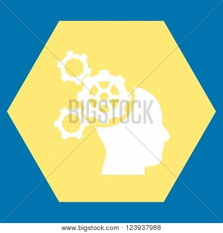 Brain Mechanics vector symbol. Image style is bicolor flat brain mechanics icon symbol drawn on a hexagon with yellow and white colors.