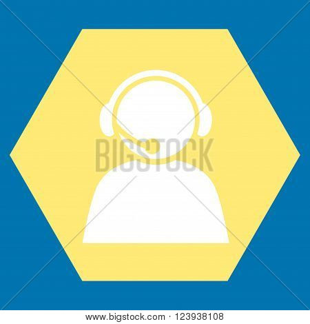 Call Center Operator vector pictogram. Image style is bicolor flat call center operator iconic symbol drawn on a hexagon with yellow and white colors.