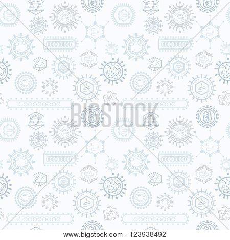 Seamless pattern with viruses. Endless texture for wallpaper fill web page background surface texture.