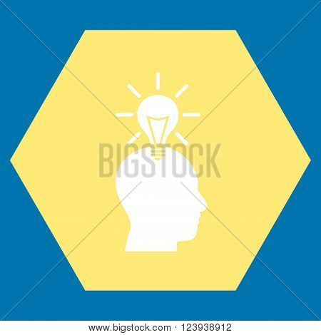 Genius Bulb vector symbol. Image style is bicolor flat genius bulb icon symbol drawn on a hexagon with yellow and white colors.