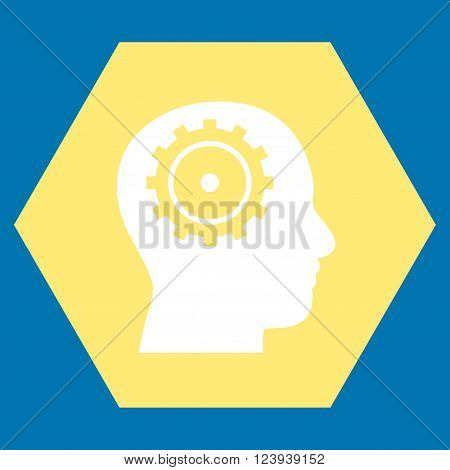 Intellect vector symbol. Image style is bicolor flat intellect pictogram symbol drawn on a hexagon with yellow and white colors.