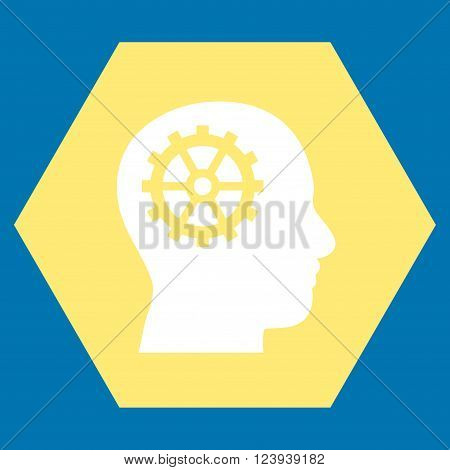 Intellect vector pictogram. Image style is bicolor flat intellect icon symbol drawn on a hexagon with yellow and white colors.