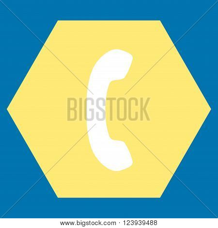 Phone Receiver vector pictogram. Image style is bicolor flat phone receiver pictogram symbol drawn on a hexagon with yellow and white colors.