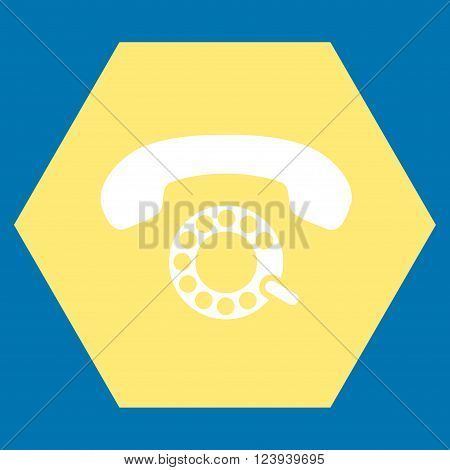 Pulse Dialing vector symbol. Image style is bicolor flat pulse dialing iconic symbol drawn on a hexagon with yellow and white colors.