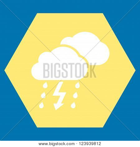 Thunderstorm vector icon. Image style is bicolor flat thunderstorm pictogram symbol drawn on a hexagon with yellow and white colors.