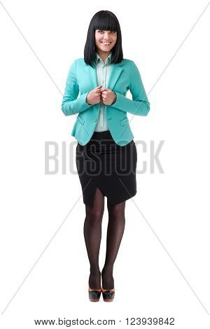 Caucasian business woman standing, full length portrait isolated on white background.