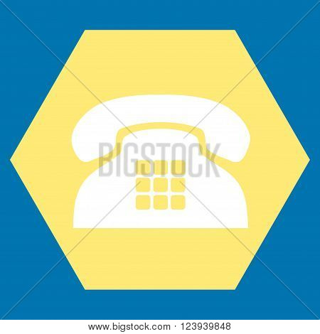 Tone Phone vector icon symbol. Image style is bicolor flat tone phone icon symbol drawn on a hexagon with yellow and white colors.