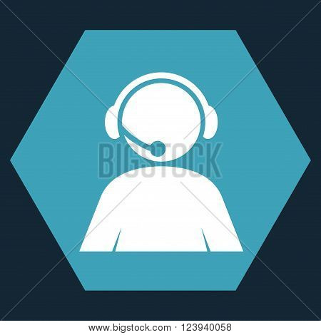 Call Center Operator vector icon symbol. Image style is bicolor flat call center operator pictogram symbol drawn on a hexagon with blue and white colors.