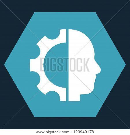 Cyborg Gear vector icon symbol. Image style is bicolor flat cyborg gear iconic symbol drawn on a hexagon with blue and white colors.