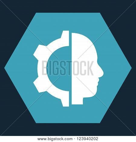 Cyborg Gear vector icon. Image style is bicolor flat cyborg gear iconic symbol drawn on a hexagon with blue and white colors.