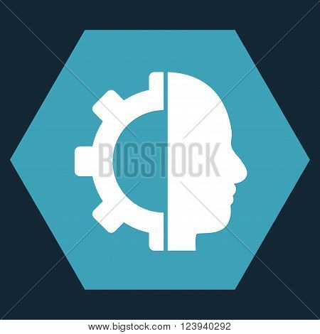 Cyborg Gear vector pictogram. Image style is bicolor flat cyborg gear pictogram symbol drawn on a hexagon with blue and white colors.