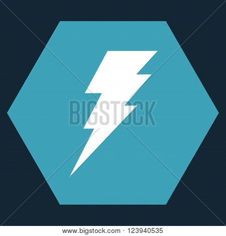 Execute vector pictogram. Image style is bicolor flat execute iconic symbol drawn on a hexagon with blue and white colors.