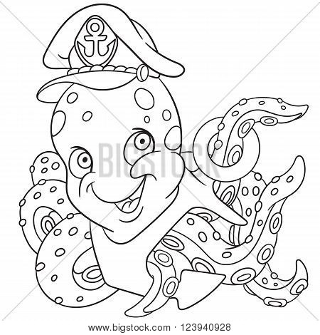 cute and happy young cartoon poulpe or octopus in a captain's hat with an anchor isolated on a white background