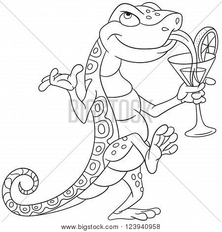 cute cartoon lizard dancing and drinking a cocktail on a disco party in night club or cafe-bar isolated on a white background