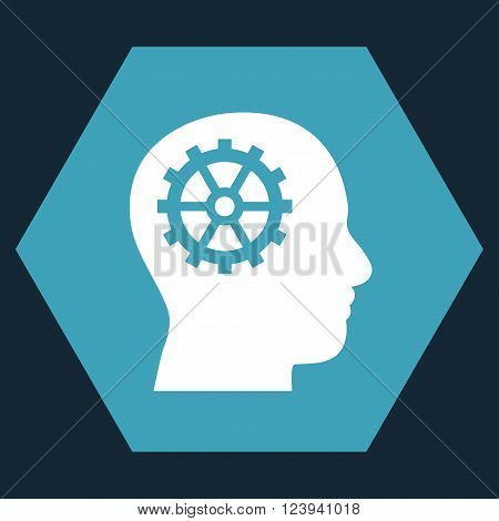 Intellect vector pictogram. Image style is bicolor flat intellect iconic symbol drawn on a hexagon with blue and white colors.