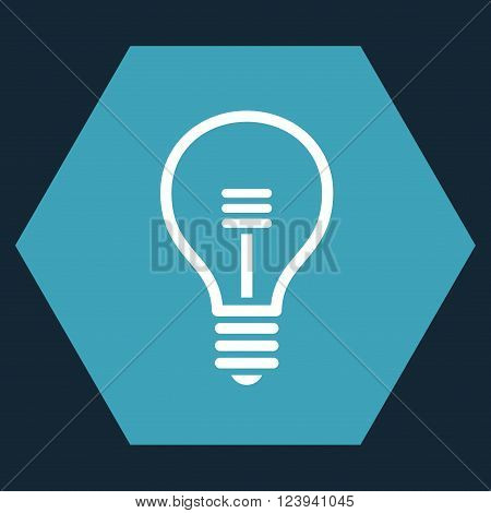 Lamp Bulb vector icon symbol. Image style is bicolor flat lamp bulb icon symbol drawn on a hexagon with blue and white colors.