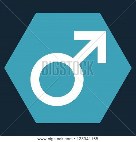 Male Symbol vector pictogram. Image style is bicolor flat male symbol iconic symbol drawn on a hexagon with blue and white colors.