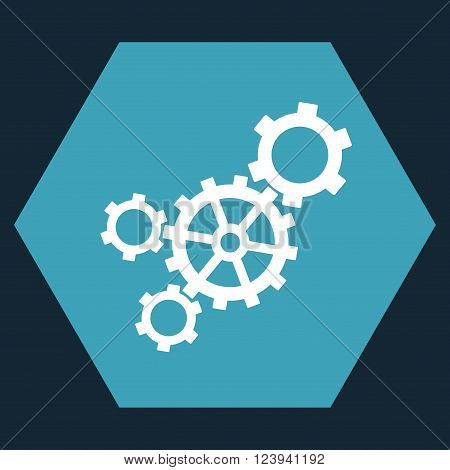 Mechanism vector icon symbol. Image style is bicolor flat mechanism iconic symbol drawn on a hexagon with blue and white colors.