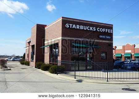 BOLINGBROOK, ILLINOIS / UNITED STATES - MARCH 4, 2016: One may drink coffee at the Starbucks Coffee Shop in Bolingbrook.