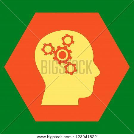 Brain Mechanics vector symbol. Image style is bicolor flat brain mechanics icon symbol drawn on a hexagon with orange and yellow colors.
