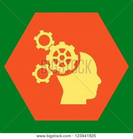 Brain Mechanics vector symbol. Image style is bicolor flat brain mechanics pictogram symbol drawn on a hexagon with orange and yellow colors.