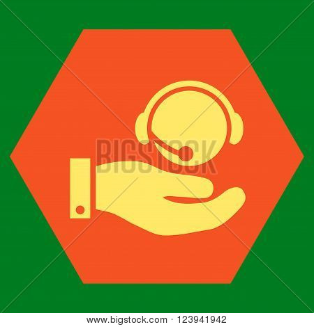 Call Center Service vector pictogram. Image style is bicolor flat call center service pictogram symbol drawn on a hexagon with orange and yellow colors.