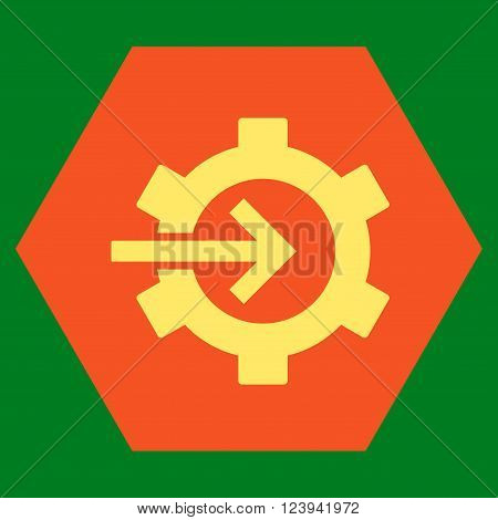 Cog Integration vector symbol. Image style is bicolor flat cog integration icon symbol drawn on a hexagon with orange and yellow colors.