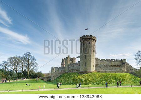 Beautiful day in Warwick Castle, Medieval castle in Warwick, England