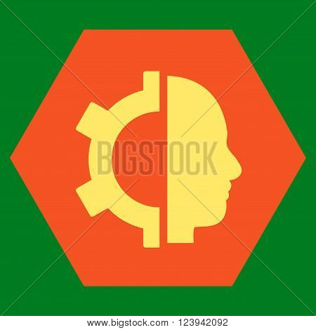 Cyborg Gear vector symbol. Image style is bicolor flat cyborg gear pictogram symbol drawn on a hexagon with orange and yellow colors.