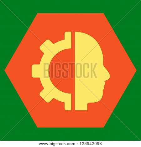 Cyborg Gear vector icon symbol. Image style is bicolor flat cyborg gear iconic symbol drawn on a hexagon with orange and yellow colors.