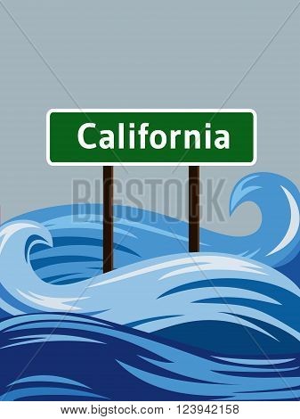California road sign sinking in water flood