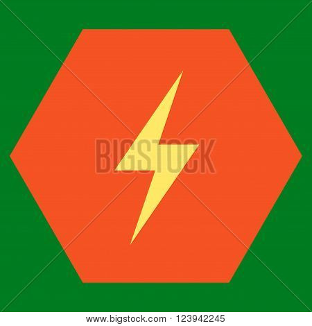 Electricity vector icon. Image style is bicolor flat electricity iconic symbol drawn on a hexagon with orange and yellow colors.