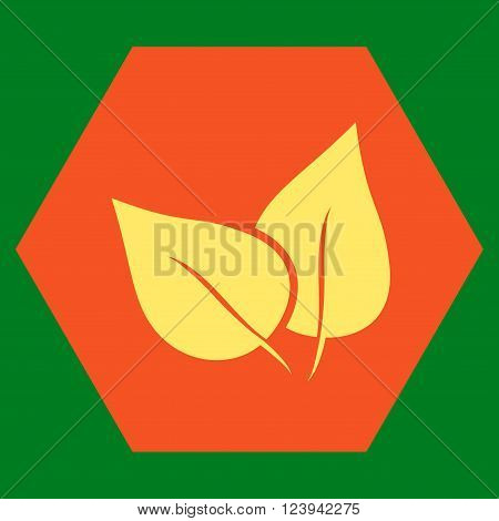 Flora Plant vector icon. Image style is bicolor flat flora plant icon symbol drawn on a hexagon with orange and yellow colors.