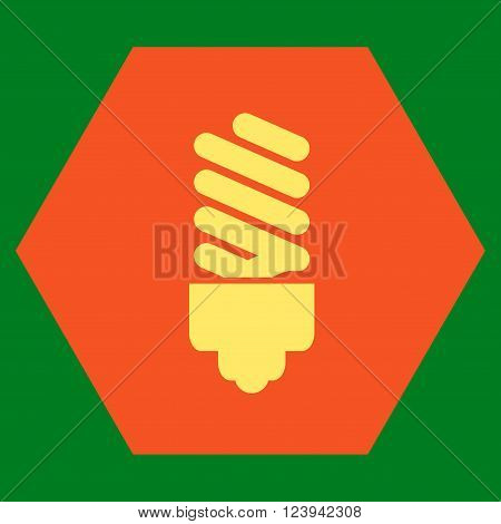 Fluorescent Bulb vector symbol. Image style is bicolor flat fluorescent bulb pictogram symbol drawn on a hexagon with orange and yellow colors.