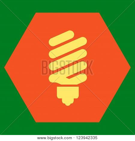 Fluorescent Bulb vector icon symbol. Image style is bicolor flat fluorescent bulb iconic symbol drawn on a hexagon with orange and yellow colors.