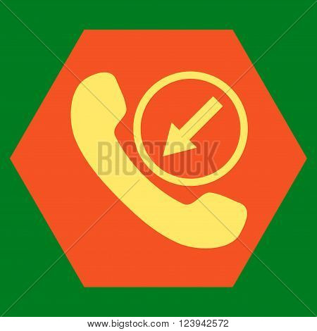 Incoming Call vector symbol. Image style is bicolor flat incoming call pictogram symbol drawn on a hexagon with orange and yellow colors.