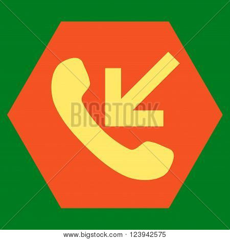 Incoming Call vector icon symbol. Image style is bicolor flat incoming call iconic symbol drawn on a hexagon with orange and yellow colors.