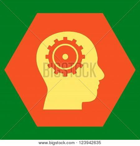 Intellect vector icon. Image style is bicolor flat intellect iconic symbol drawn on a hexagon with orange and yellow colors.