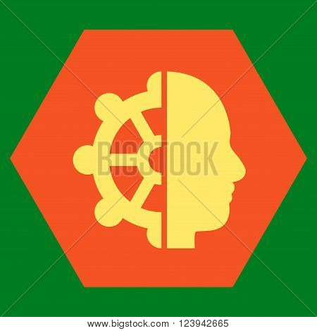 Intellect vector pictogram. Image style is bicolor flat intellect pictogram symbol drawn on a hexagon with orange and yellow colors.