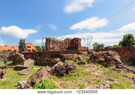 TORUN POLAND - JULY 7 2009: Ruins of a teutonic order knights castle. Its only preserved element is the Gdanisko tower used in the past as a lavatory