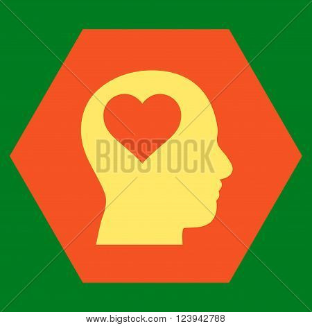 Lover Head vector pictogram. Image style is bicolor flat lover head icon symbol drawn on a hexagon with orange and yellow colors.