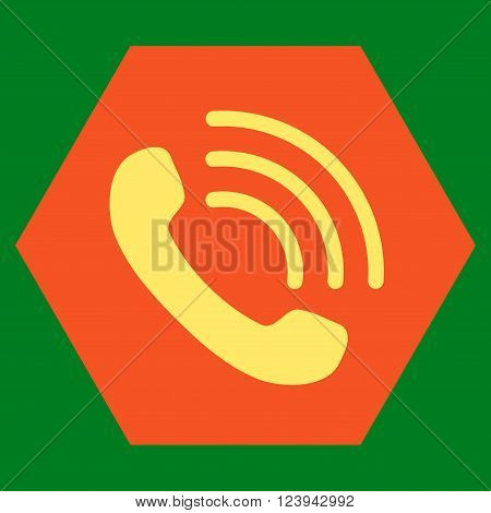 Phone Call vector icon symbol. Image style is bicolor flat phone call iconic symbol drawn on a hexagon with orange and yellow colors.