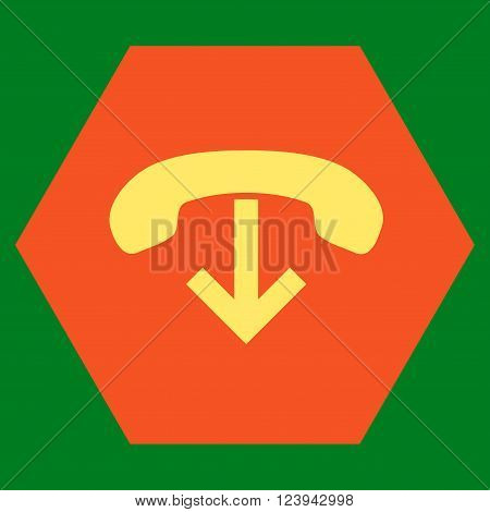 Phone Hang Up vector symbol. Image style is bicolor flat phone hang up iconic symbol drawn on a hexagon with orange and yellow colors.