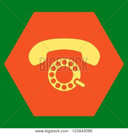 Pulse Dialing vector symbol. Image style is bicolor flat pulse dialing pictogram symbol drawn on a hexagon with orange and yellow colors.