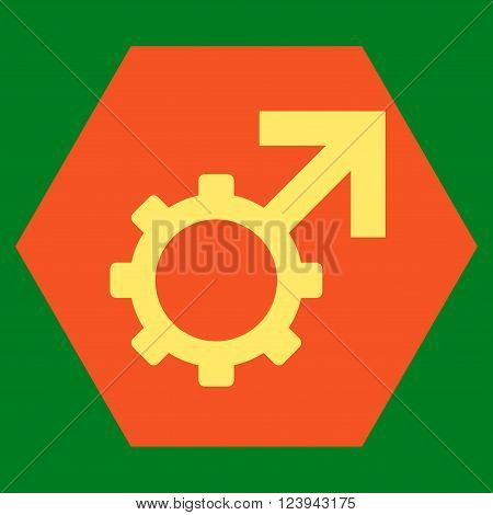 Technological Potence vector icon. Image style is bicolor flat technological potence pictogram symbol drawn on a hexagon with orange and yellow colors.