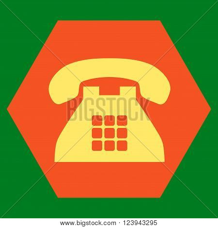 Tone Phone vector icon. Image style is bicolor flat tone phone icon symbol drawn on a hexagon with orange and yellow colors.