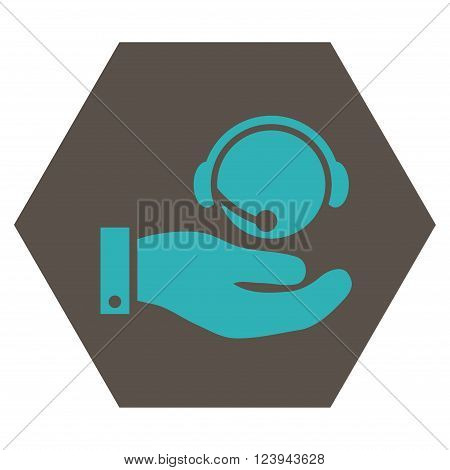 Call Center Service vector icon. Image style is bicolor flat call center service pictogram symbol drawn on a hexagon with grey and cyan colors.
