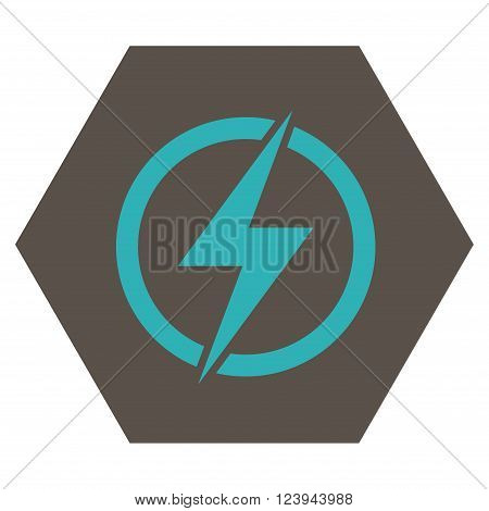 Electricity vector pictogram. Image style is bicolor flat electricity pictogram symbol drawn on a hexagon with grey and cyan colors.